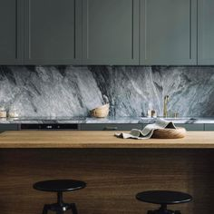 My Current Kitchen Mood The Moody Kitchen Forest Green Units Monochrome Marble Worktops And Calming Natural Wood Residential Interior Design, Home Interior, Interior Design Kitchen, Retail Interior, Design Bathroom, Kitchen Designs, Kitchen Backsplash, Kitchen Countertops, Kitchen Cabinets