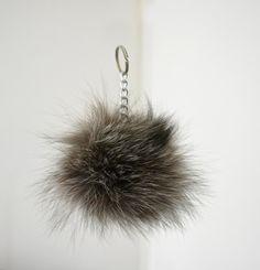 Gray Fluffy real Fox Fur Pom Pom very easy to attach by lefushop Fur Pom Pom, Pom Poms, Winter Accessories, Fox Fur, Drop Earrings, Purses, Gray, Bags, Color