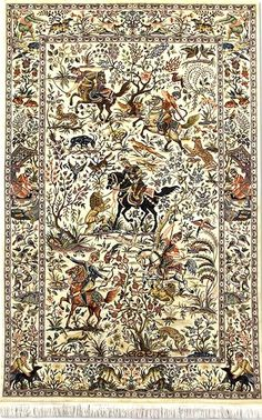 There is a long history of hunting scenes being depicted in hand-knotted rugs. Famous kings and historical figures are thought to have commissioned many of these Hunting rugs as reminders of the excitement of the hunt. In fact, the oldest rug in existence, the Pazyryk rug (dated 5th century B.C and found in the tomb of Scythian prince), depicts rows of mounted horsemen in an outer border and rows of (what appear to be) deer in an inner border. A more recent example, now housed in Vienna's…