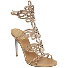 Renè Caovilla Women 105mm Satin & Swarovski Sandals (69,735 INR) ❤ liked on Polyvore featuring shoes, sandals, gold, metallic high heel shoes, rene caovilla sandals, metallic sandals, metallic shoes and high heeled footwear