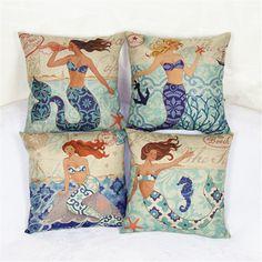 2 PCS 44*44cm Pretty Mermaids Linen Soft Pillow Cover Cushion Novelty Pillowcase Free Shipping #Affiliate