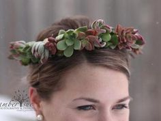 Live Organic Succulent Flower Crown | Green Bride Guide