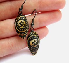 Sanskrit Om Symbol Eco-friendly Pistachio Earrings - Upcycled Recycled Nut Shell Earrings - Natural Wood - Handpainted