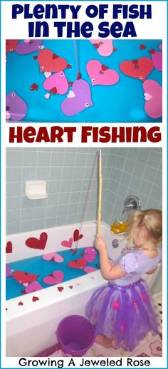 My little one loved fishing for heart shaped fish in the bath tub- this is a great way to keep kids occupied on a rainy day. Grab a pole- there are plenty of fish in the sea!