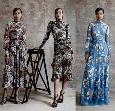 Erdem Moralioglu 2018 Resort Cruise Pre-Spring Womens Lookbook Presentation - One Shoulder Maxi Dress Gown Eveningwear Flowers Floral Leaves Foliage Botanical Print Graphic Motif Silk Satin Stripes Brooch Breastpin Bow Ribbon Knot Strapless Cutout Shoulders Brocade Jacquard Sheer Chiffon Organza Tulle Ruffles Frills Ruche Flounce Wrap Crop Top Midriff Butterflies Birds Garden Lace Embroidery Needlework Fringes Accordion Pleats Outerwear Trench Coat Pantsuit Blazer Jacket Wide Leg Trousers…