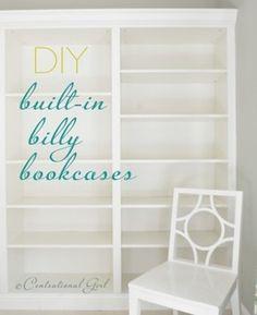 Wat een goed idee! Billy boekenkasten met een sierlijst erop en je hebt een totaal nieuwe kast. Pinterest ideetje