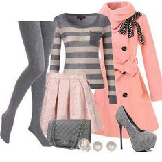 Grey tights, sweater, pink trench coat, skirt, handbag and grey high heels Lila Outfits, Mode Outfits, Casual Outfits, School Outfits, Cute Fashion, Look Fashion, Teen Fashion, Fashion Outfits, Fashion Beauty