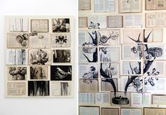 Ink and acrylic paintings on grids of vintage books.