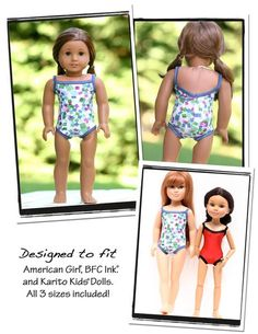 A Free swimsuit pattern for your American Girl ® Doll, Karito Kids ® doll, and BFC Ink ® doll! PDF sewing pattern download, print, sew!