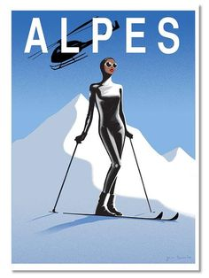 A modern interpretation of the retro ski poster. Limited edition print on 308 gsm Innova FP white matt paper. Signed in blue. Ski Posters, Art Deco Posters, Travel Posters, Vintage Posters, Vintage Art, Travel Illustration, Flat Illustration, Fashion Sketch Template, Mickey House