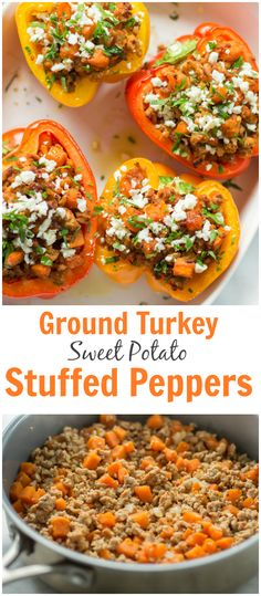 Ground Turkey Sweet Potato Stuffed Peppers - These ground turkey sweet potato stuffed peppers are filled with favours and a delicious homemade tomato sauce. Perfect recipe for you busy dinnertime. | primaverakitchen.com