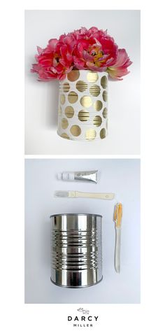 Transform cans into DIY containers with this easy DIY Mother's Day gift idea. | Darcy Miller Designs #craft #upcycle #greencraft #recycle #easy #backtoschool #idea #inspo #reuse Easy Diy Mother's Day Gifts, Diy Gifts For Dad, Diy Mothers Day Gifts, Mother's Day Diy, Spring Projects, Easy Diy Projects, Wedding Party Favors, Diy Party, Reuse