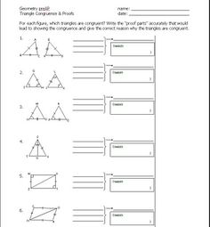 Proving triangles congruent worksheet... anything that lets the ...