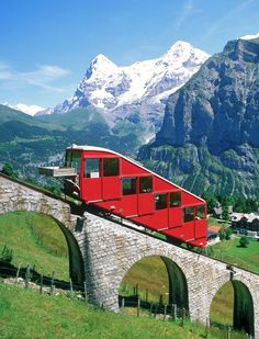 Mountain railway in the Alps, Switzerland Seilbahn Murren Allmendhubel SMA Places Around The World, Oh The Places You'll Go, Travel Around The World, Places To Travel, Places To Visit, Around The Worlds, Beautiful World, Beautiful Places, Amazing Places