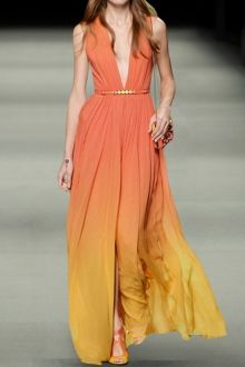 Plunging Neck Ombre Color Prom Dress - I like this. Do you think I should buy it?