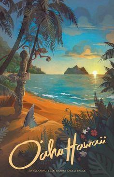 Hawaii North Shore Travel Poster, Hawaii Art, Hawaii Wall Art, Hawaii Print, … – Famous Last Words Posters Paris, Posters Decor, Posters Wall, Poster Prints, Gig Poster, Art Prints, Art Plage, Hawaii Painting, Bel Art
