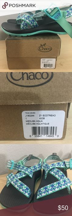 Chaco Girls Z1 Ecotread Sandals New. Medusa Aqua. Tried on condition. Chaco Shoes Sandals & Flip Flops