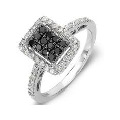 Cocktail Right Hand Ring 0.55 Carat (ctw) 10k White Gold Black & White... (20.850 RUB) ❤ liked on Polyvore featuring jewelry, rings, white, white gold rings, black white diamond ring, round diamond ring, wedding rings and black and white diamond rings