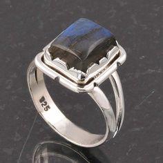 BLUE FIRE LABRADORITE 925 SOLID STERLING SILVER FASHION RING 4.78g DJR6372 #Handmade #Ring
