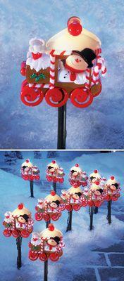 Snowman Train Garden Path Light Stakes-Set of 10
