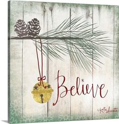 The Holiday Aisle 'Bells' Graphic Art on Wrapped Canvas Size: H x W x D Christmas Wall Art, Christmas Door, Christmas Paintings, Diy Christmas Ornaments, Christmas Balls, Christmas Wreaths, Christmas Ideas, Xmas Crafts, Christmas Signs