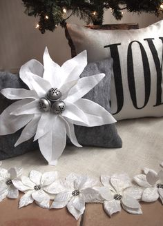 """Christmas pillow, Silver/grey """"Joy"""" pillow cover with charcoal grey wool felt letters, holiday. Home Decor. $35.00, via Etsy."""