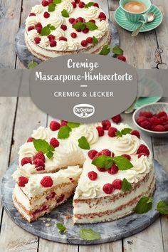 Cremige Mascarpone-Himbeertorte Creamy mascarpone raspberry cake: almond cake with fresh raspberries and a mascarpone cream baking dream and cake Keto Recipes, Cake Recipes, Naked Cakes, Raspberry Cake, Cupcakes, Almond Cakes, Food Cakes, Macaron, Keto Dinner
