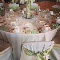 Light Sage Sashes & Florals looked so pretty for this daytime wedding!