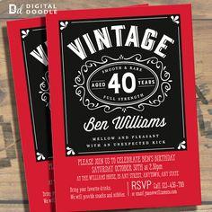 40th Birthday Invitation, 40th Birthday, Birthday Invite, 40 Birthday, Digital, Milestone, Printable, DIY, Invite, Template, Birthday Party