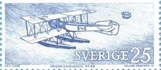 """Sweden 25ö """"Postal Aircraft"""" - Friedrichsjafen FF49, 1972. Majvor Franzén sc."""