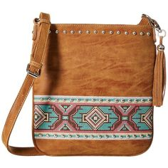 M&F Western Shania Messenger Bag (Tan) Messenger Bags ($49) ❤ liked on Polyvore featuring bags, messenger bags, aztec bag, zip top bag, courier bag, flat bags and m&f western