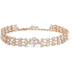 Oscar de la Renta Rose gold-tone crystal choker ($900) ❤ liked on Polyvore featuring jewelry, necklaces, crystal chain necklace, chains jewelry, sparkle jewelry, crystal jewelry and crystal choker