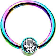"16 Gauge 3/8"" Clear Gem 4mm Disc Rainbow IP BCR Captive Ring"