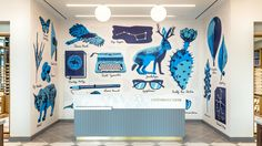 Mural design for Warby Parker store in Plano, TX. Inspired by vintage field guides and the flora, fauna, and ephemera of the Texas Plains.