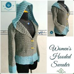 Crochet Hooded Sweater from Maz Kwok's Designs – Show off your style with this hooded sweater … FREE crochet pattern too!