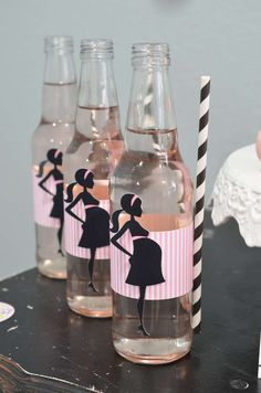 Drinks at a ready to pop baby shower party! See more party planning ideas at CatchMyParty.com!