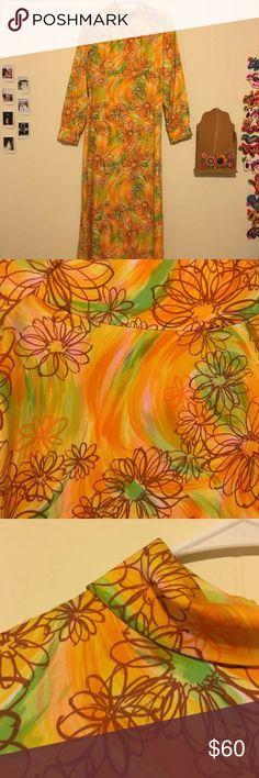 "vtg 60s hawaiian floral print maxi dress Dress has a swirl print with overlaying floral print. Swirls are orange, yellow, pink and green. Floral print is brown. Zip up back. No tags present, so I'm unsure of the stated size or fabric content. Please see the measurements below. I estimate this would fit a modern small or medium. Material is NOT stretchy.   Armpit to armpit 18"" Waist 15"" Length (shoulder to hem) 55"" Dresses Maxi"
