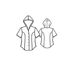 Blouse With Hood - Sewing Pattern #5097 - $2.49 (Enter your measurements for a custom-size pattern!)