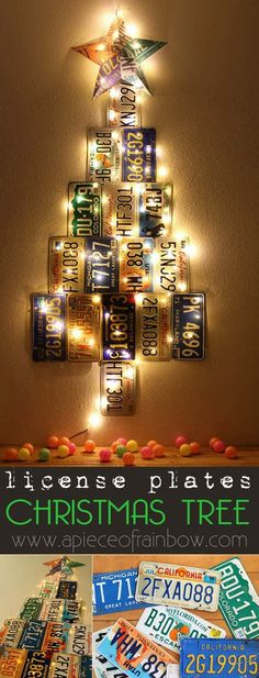Make an uniquely gorgeous Christmas Tree from up-cycled license plates! Don't have license plates? Make it out of paper with the free printables provided!