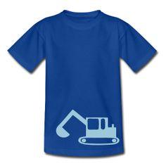 Kinder T-shirt met graafmachine van Mamashirts.  Kids T-shirt with digger from Mamashirts.