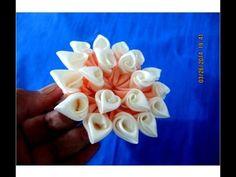 DIY Kanzashi flores rayos de sol en cintas   flowers sunbeams in ribbons - YouTube