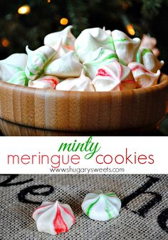 Minty Meringue Cookies: easy mint cookies with red/green swirls. By Shugary Sweets Christmas Sweets, Christmas Cooking, Green Christmas, Xmas, Just Desserts, Delicious Desserts, Cookies Decorados, Cookie Recipes, Dessert Recipes