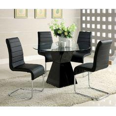 Furniture of America 'Athena' 5-piece High-Gloss Dining Set (White), Size 5-Piece Sets (Chrome)