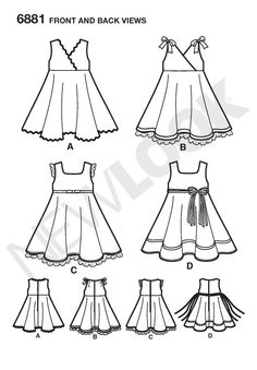New Look Sewing Pattern 6881 Toddler Dresses, Size A (1/2-1-2-3-4)