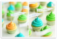 Cute idea for cupcake garnish for a baby shower or an ABC party