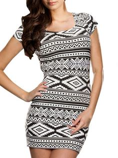 Black Geo Pattern Short Sleeve Bodycon Mini Dress   abaday