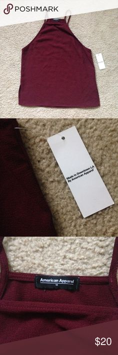 NWT AA crepe high neck top high neck strappy top in the color truffle (maroon)  ✿ no trades ✿ price is negotiable (be reasonable) ✿ every purchase comes w Brandy Melville stickers ✿ ships in 2-3 days ✿ free shipping on merc + $2 off when you sign up with the code CEYQEP American Apparel Tops Tank Tops