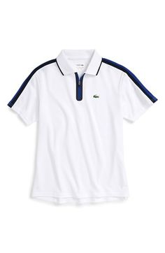 dab7bcf5df Lacoste Ultra Dry Zip Polo (Big Boys) Camisetas Polo