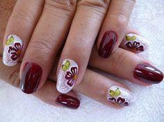 Great for Fall Toe Designs, Flower Nail Designs, Nail Art Designs, Fingernail Polish Designs, Gel Nail Tips, Burgundy Nail Designs, Burgundy Nails, Nail Art Diy, Diy Nails