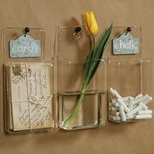 Clear containers labeled to store items, or decorative pieces like the flower shown below.